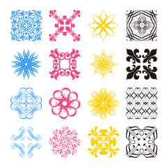 Diverse styles of square back Symbol Sets. Original Pattern and