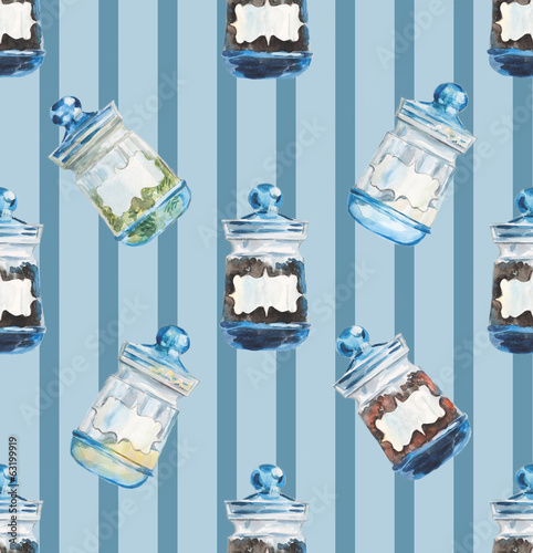 Bank for spices on the blue background with stripes.
