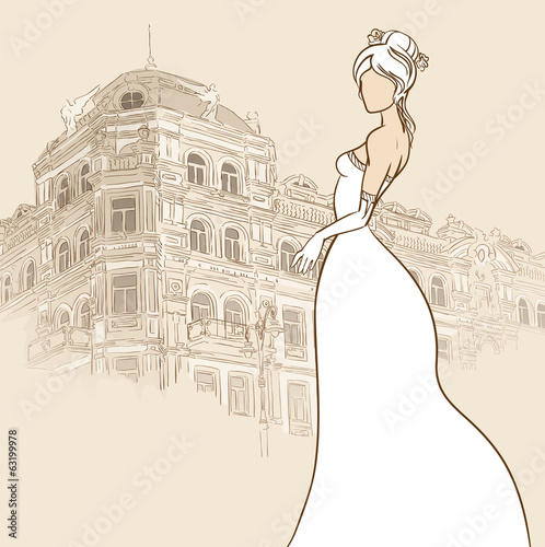 Bride with vintage building background. Vector illustration