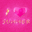 I Love Summer Lettering with Shiny Pink Heart
