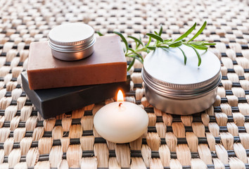 Spa still life with soap and candle