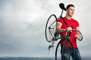 man with classic fixed gear bicycle