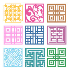 Plaid Symbol sets. Geometric Pattern Design. Korean traditional