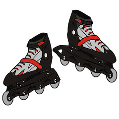 inline skates, vector illustration