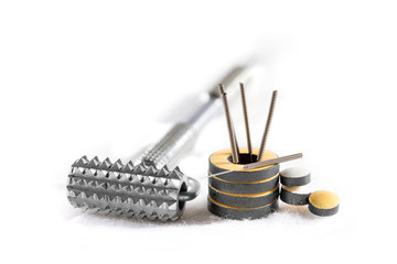 Instruments and accessories for acupuncture.