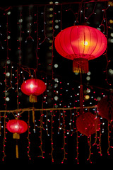 Red Chinese Lantern in the Dark