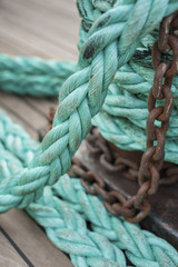 rope on steel bow bollards and anchor chain winch