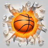 Basketball ball and cracked wall.