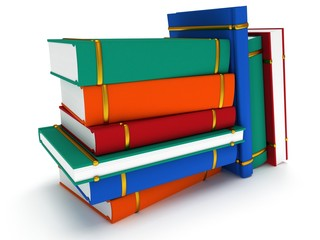 Stack of Books on white background. 3d render