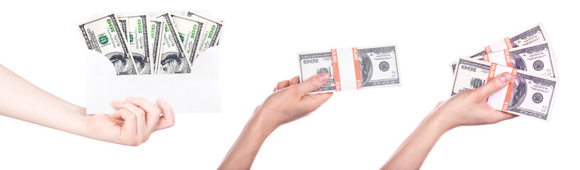big packs of dollars in hand isolated