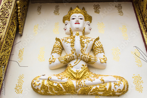 Angels Statue on an antique Thai temple