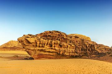 Boat shaped rock in the desert of Wadi Rum
