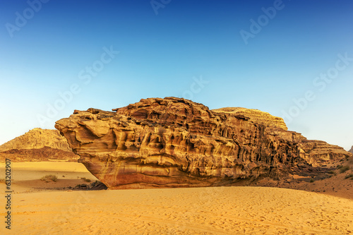 Boat shaped rock in the desert of Wadi Rum