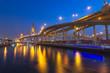 The Bhumibol Bridge at twilight, bangkok, thailand