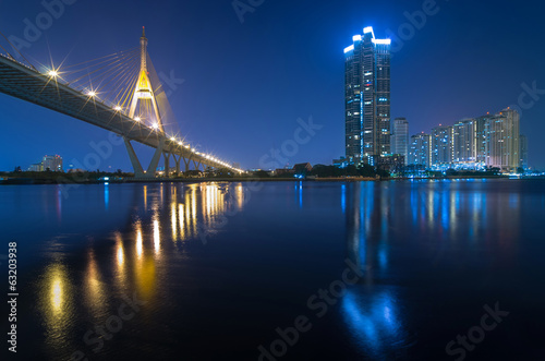 Bangkok cityscape river view with The Bhumibol Bridge at twiligh
