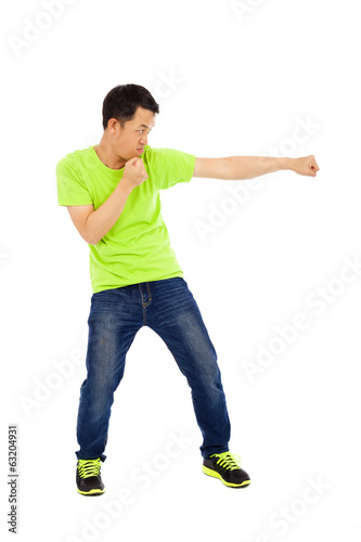young man imitate boxing pose