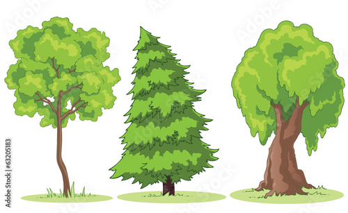 Illustration of a cartoon trees on a patch of grass