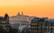 canvas print picture - View of Montmartre and Paris rooftops at sunset from les Buttes