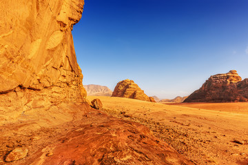 Sandstone cliff in the desert of Wadi Rum
