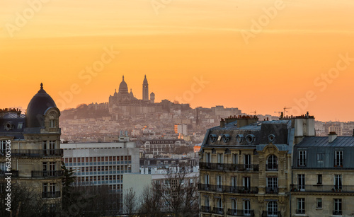 canvas print picture View of Montmartre and Paris rooftops at sunset from les Buttes