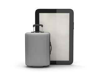 Luggage and tablet computer on white background