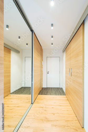 entrance hall with mirror in modern apartment