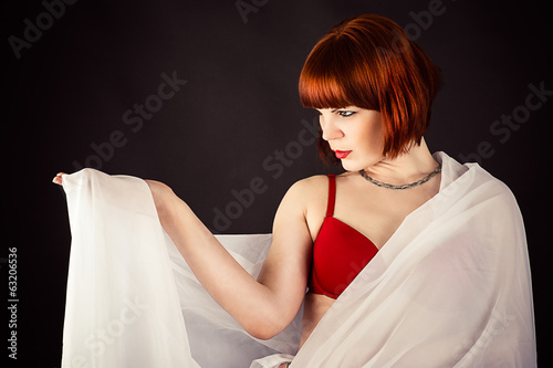 beautiful woman transparent fabric isolated