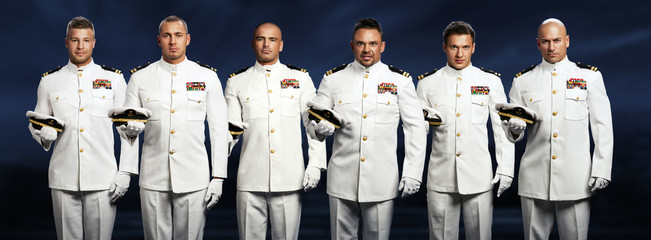 group of 6 handsome captain sea ship