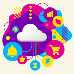 Cloud on abstract colorful spotted background with different ico