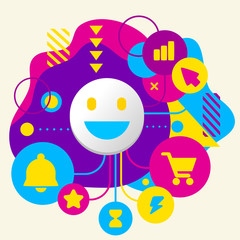 Smile on abstract colorful spotted background with different ico
