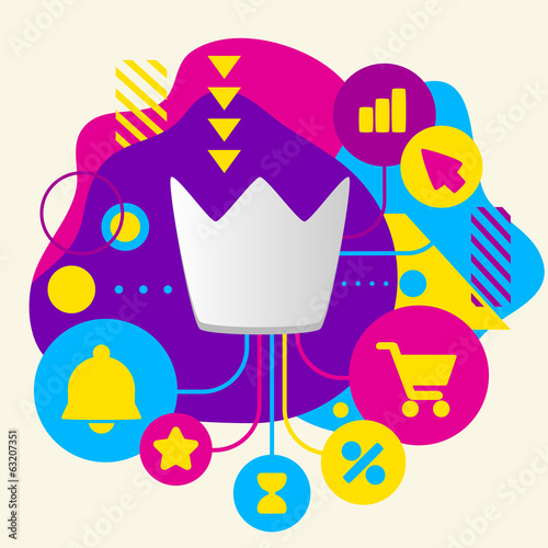 Crown on abstract colorful spotted background with different ico
