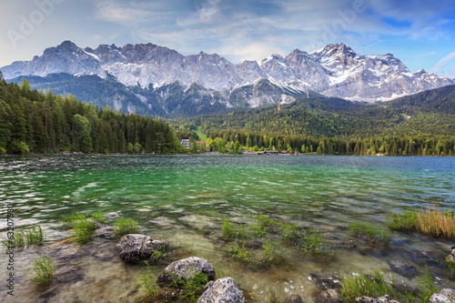 Eibsee lake and Zugspitze top of Germany
