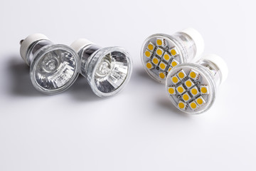 Modern LED bulbs with classic old bulbs