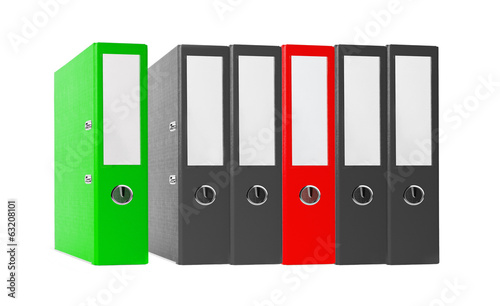 Office folders black and red isolated on the white background
