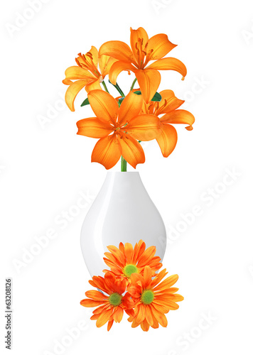Beautiful orange lily flowers in vase isolated on white