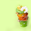 Easter decorations in green nest with chicken