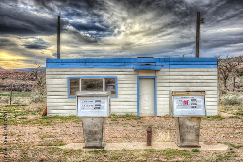 canvas print picture Abandoned Gas Station