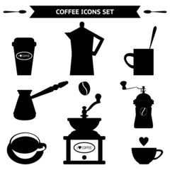 Black coffee silhouettes on white background