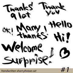 Set of Hand written short phrases HELLO, THANK YOU, WELCOME, etc