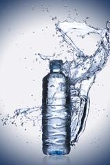 Water Splash On Water Bottle