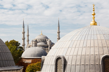 Blue Mosque on background the blue sky
