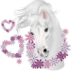 White horse with floral hearts