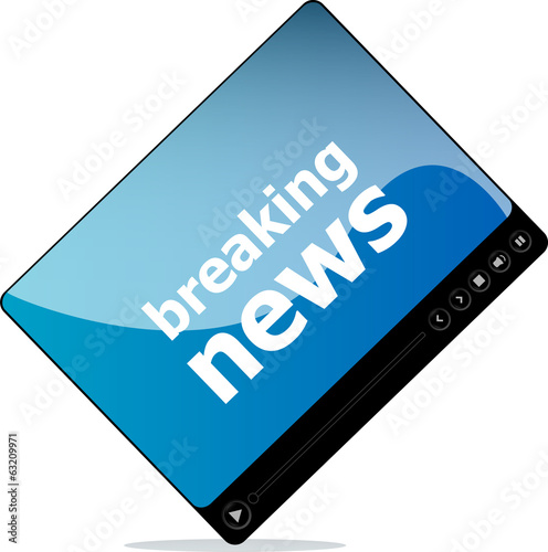Social media concept: media player interface with breaking news