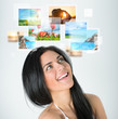 Portrait of young happy woman with travel vacation memories or e