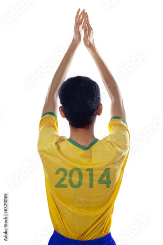 Brazilian fans clapping hands isolated