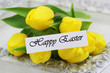 Happy Easter card with yellow tulips
