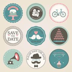Retro set of wedding circles