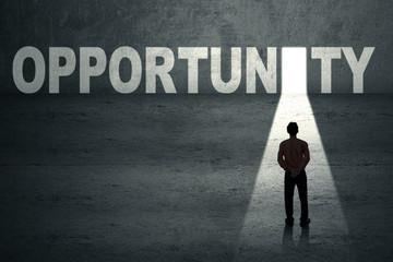 Businessman at opportunity door