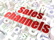 Marketing concept: Sales Channels on alphabet background