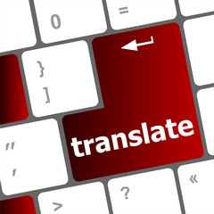 Multilingual translation. keyboard and translate word key